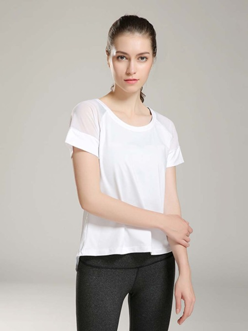 Short Sleeves Back Slit Solid Breathable Sports Top for Women