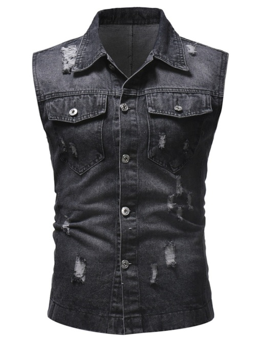 Hole Lapel Plain Men's Denim Gilet