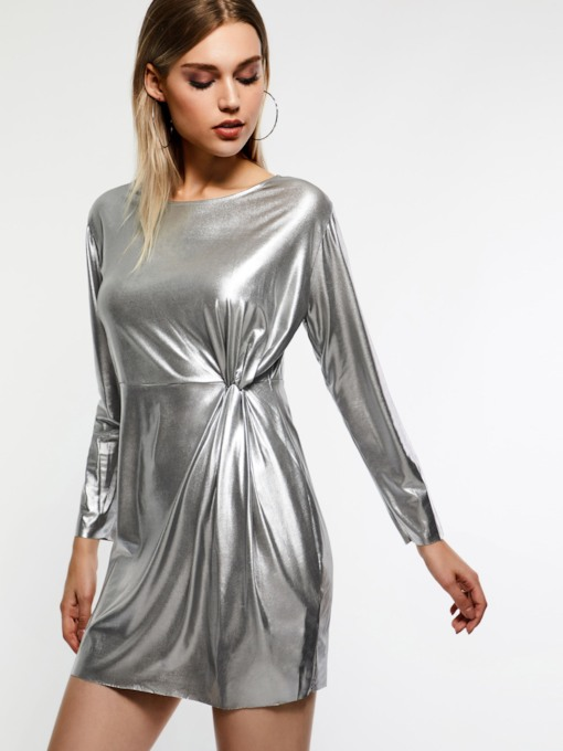 Pullover A-Line Plain Women's Long Sleeve Dress