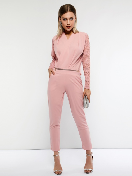 Lace Casual Full Length Plain Slim Women's Jumpsuits