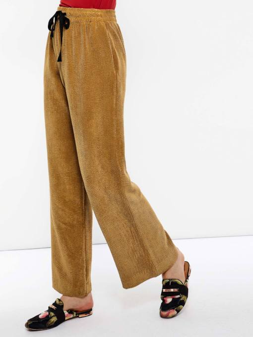 Loose Lace-Up Plain Wide Legs Women's Casual Pants