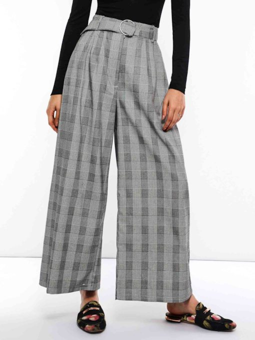 Houndstooth Loose High-Waist Women's Casual Pants