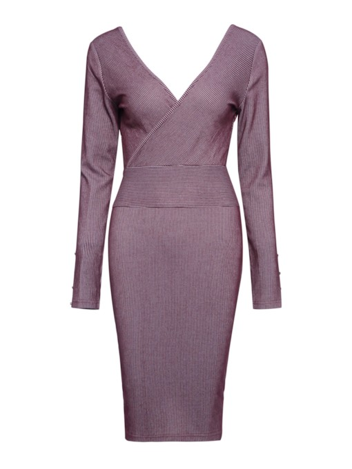 Long Sleeve V-Neck Plain Women's Bodycon Dress