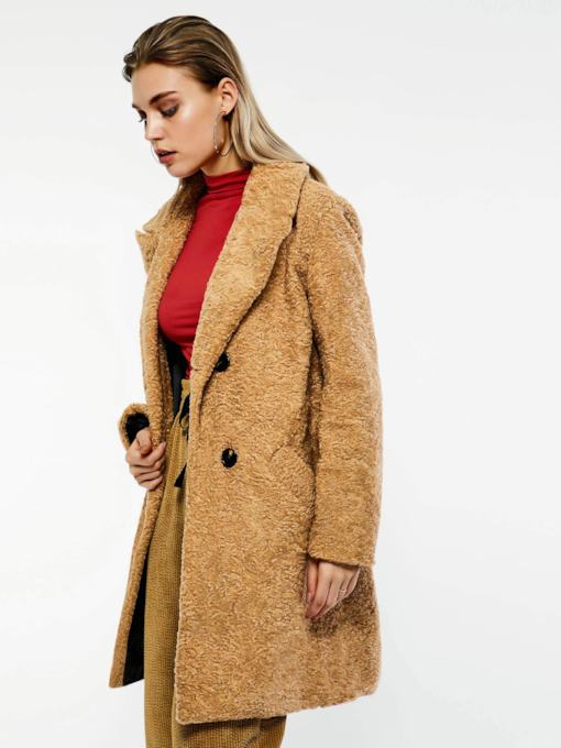 Wide-Lapel Double-Breasted Mid-Length Women's Teddy Overcoat