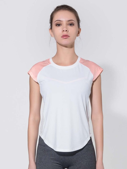 Short Sleeves Color Block Breathable Women's Sports Tee