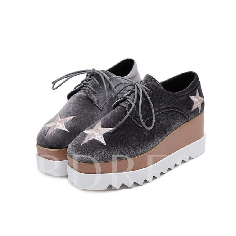 Lace-Up Embroidery Platform Square Toe Star Trendy Women's Sneakers