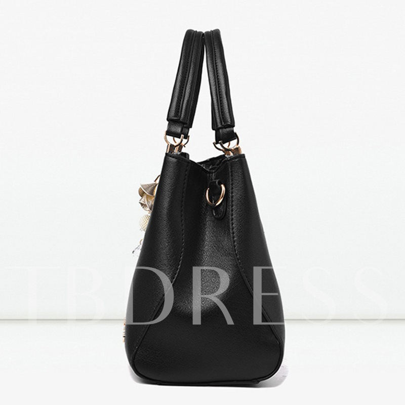 Casual Plain PU Thread Square Tote Bags