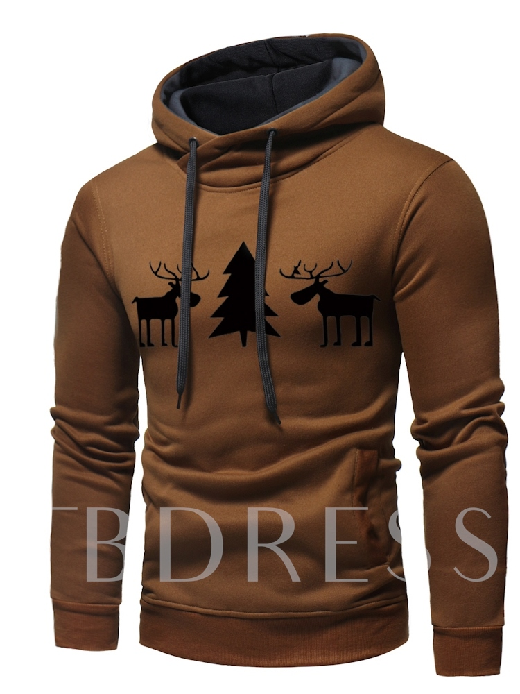 Christmas Print Straight Pullover Men's Hoodie
