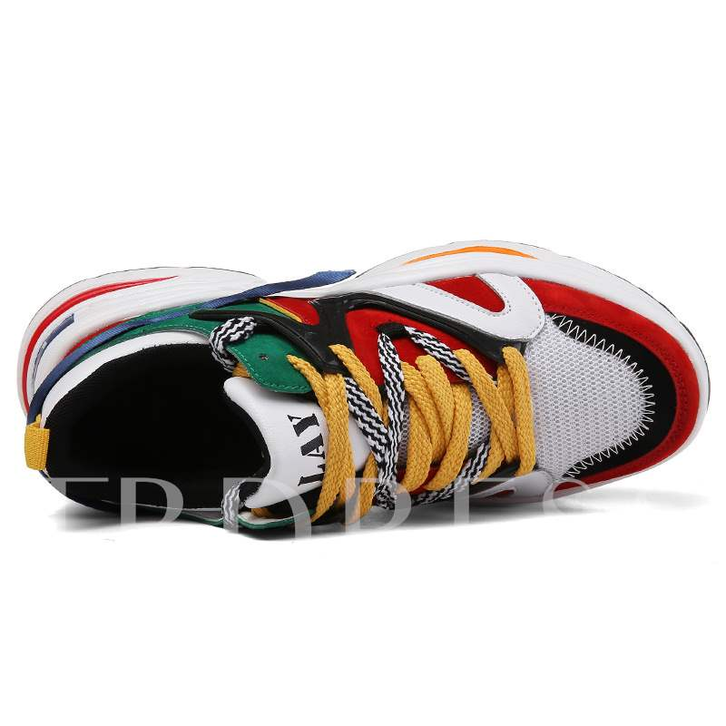 Color Block Lace-Up Round Toe Trendy Men's Sneakers
