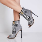 Front Zipper Stiletto Heel Peep Toe Decorated Women's Ankle Boots