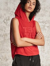 Letter Mesh Breathable with Hood Smock for Women