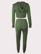 Color Block With Hood Long Sleeves Sports Set for Women