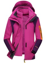 Color Block With Hood Two Pieces Jacket for Women