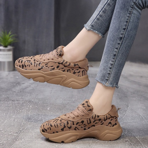 Lace-Up Platform Round Toe Casual Leopard Women's Sneakers