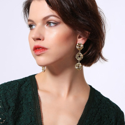 Geometric Patchwork E-Plating Alloy Prom Earrings