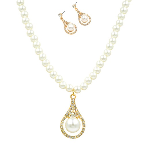 Water Drop Shape Pearl Decorated 2-Piece Jewelry Sets
