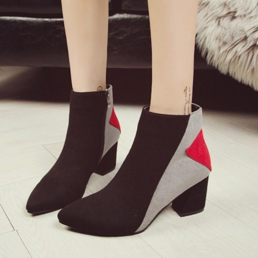 Side Zipper Pointed Toe Color Block Chunky Heel Versatile Ankle Boots
