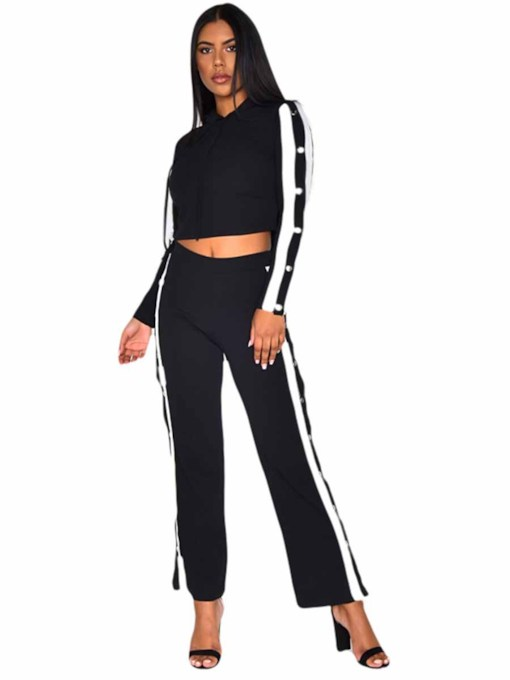 Long Sleeves With Hood Breathable Stripe Sports Set