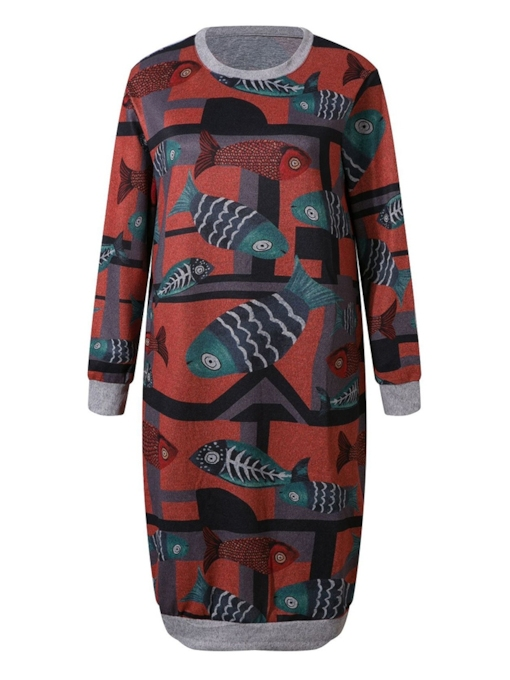 Print Round Neck Spring Women's Long Sleeve Dress