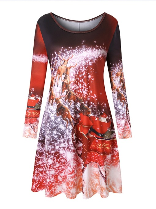 Round Nec Print Casual Women's Long Sleeve Dress