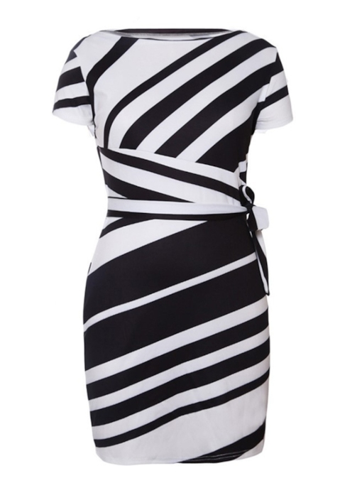 Patchwork Stripe Short Sleeve Women's Bodycon Dress