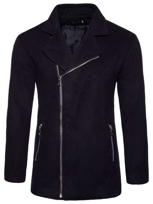 Plain Slim Lapel Men's Woolen Coat