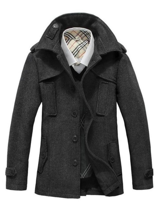 Slim Plain Mid-Length Stand Collar Zipper Men's Coat