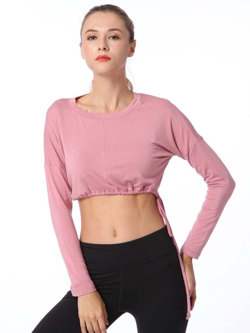 Loose Lace-UP Long Sleeves Sports Tee for Women
