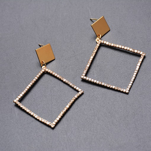 Hollow Square Shape Diamante Party Earrings