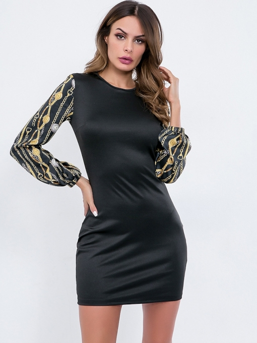 Long Sleeve Round Neck Print Women's Bodycon Dress