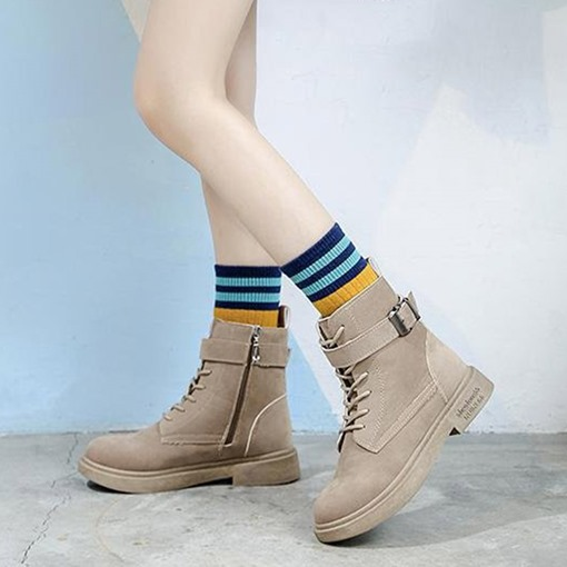 Side Zipper Block Heel Round Toe Plain Women's Martin Boots
