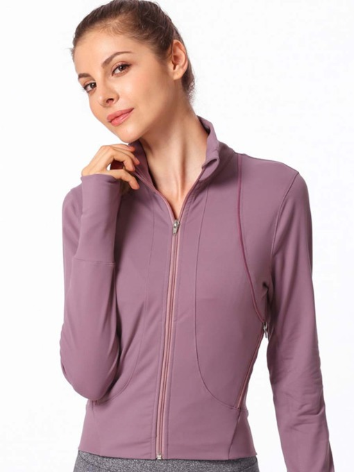 Zipper Pockets Thumbholes Slim Jacket for Women