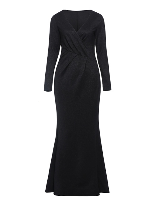 Long Sleeve V-Neck Split Women's Maxi Dress