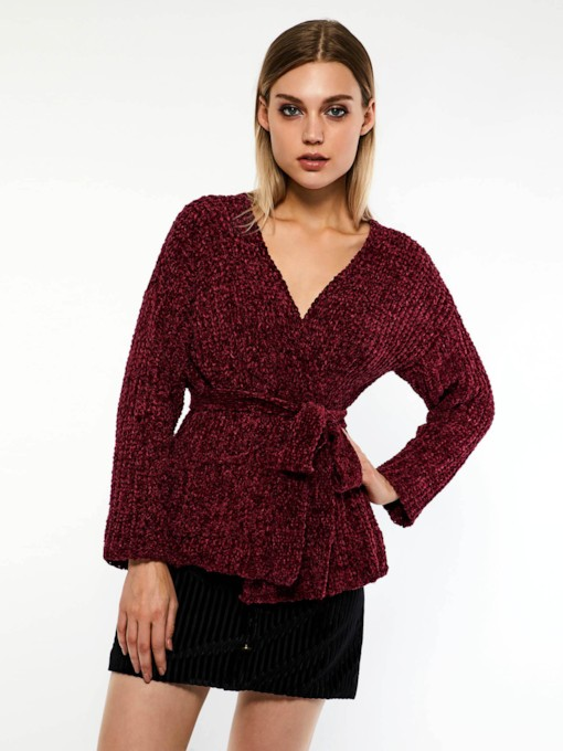 Plain V-Neck Lace-Up Women's Sweater