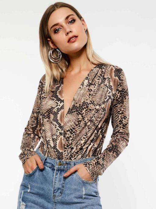 Print Shorts Serpentine Casual Slim Women's Romper