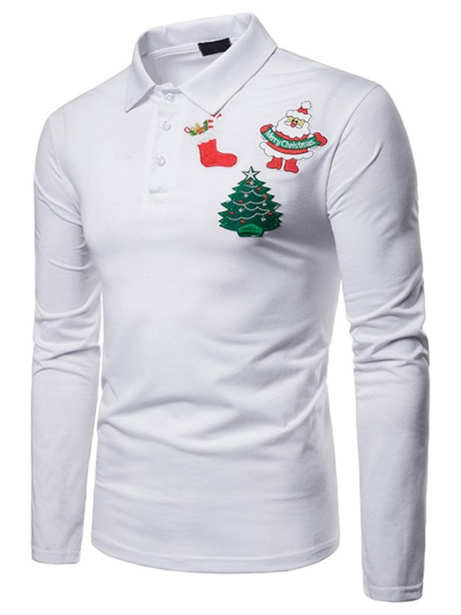 Christmas Cartoon Printed Polo Neck Men's Polo Shirt