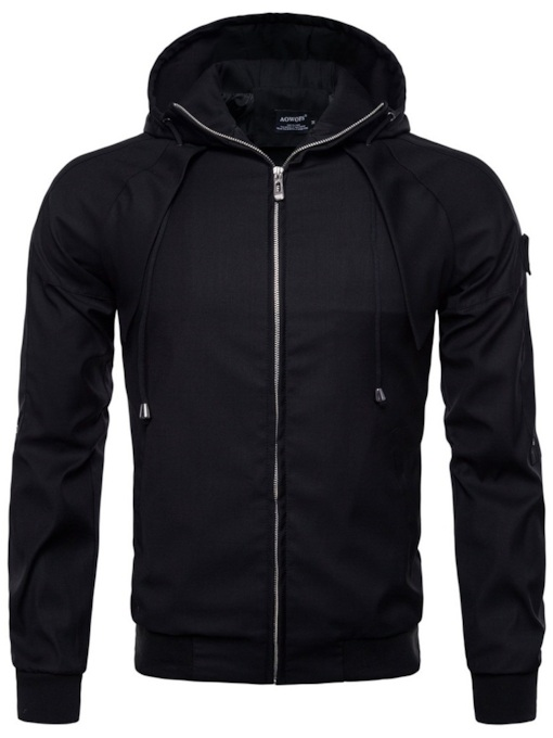 Plain Hooded Zipper Slim Men's Jacket