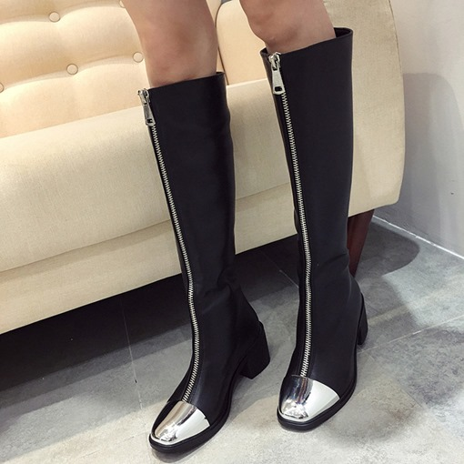 Front Zipper Chunky Heel Square Toe Patchwork Women's Knee High Boots