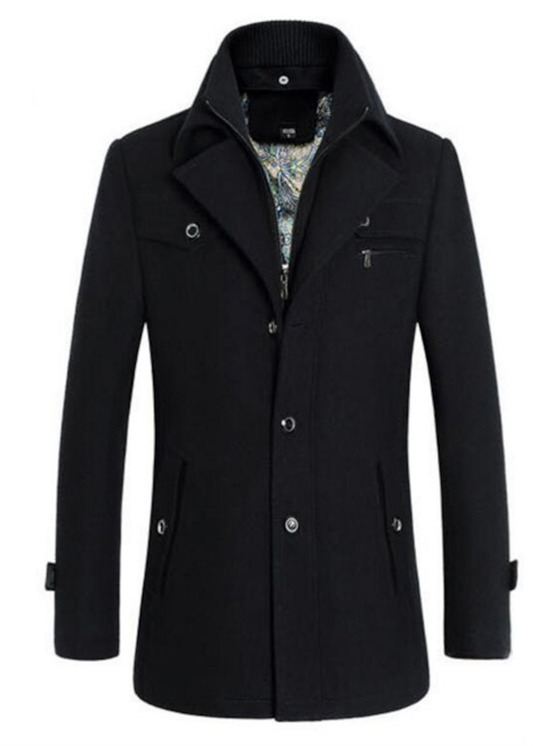 Lapel Plain Standard Slim Men's Coat