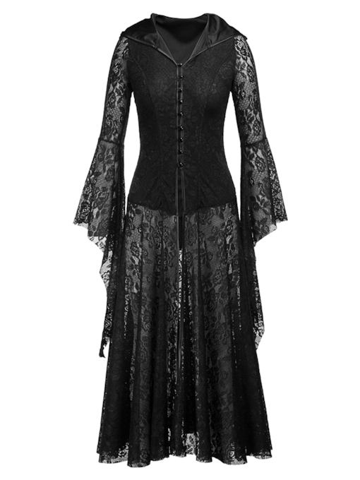 Long Sleeve Single-Breasted Hooded Women's Lace Dress