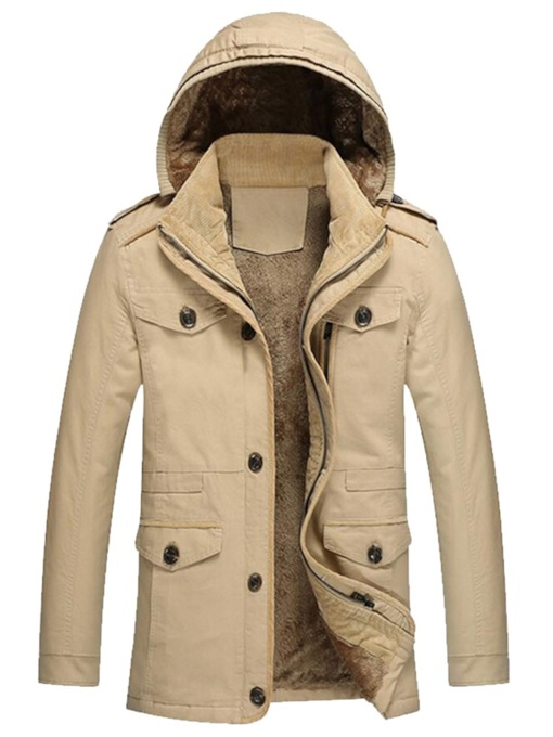 Plain Stand Collar Thick Slim Plus Fur Hooded Men's Jacket