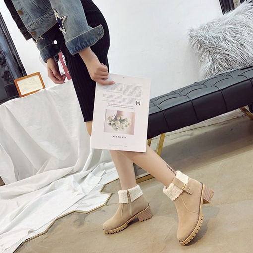 Round Toe Chunky Heel Side Zipper Platform Buckle Women's Ankle Boots