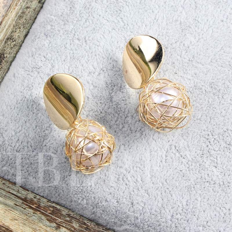 New In Braided Ball Design Pearl Prom Earrings