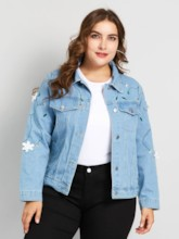 Floral Embroideried Single-Breasted Plus Size Women's Denim Jacket