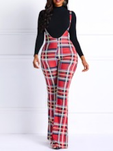 Loose Print Plaid Wide Legs Women's Casual Pants