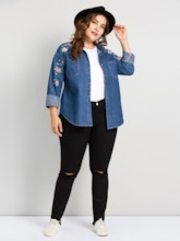 Floral Embroidery Single-Breasted Plus Size Women's Jacket