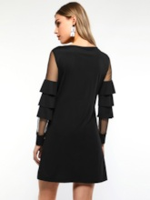 Falbala Mesh See-Through Women's Long Sleeve Dress