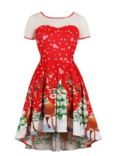 Scoop Neck Zipper-Up A Line Printed Christmas Cocktail Dress