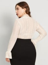 Flare Sleeve Lace Plus Size Women's Blouse