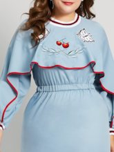 Plus Size Embroidery Round Neck A-Line Women's Long Sleeve Dress